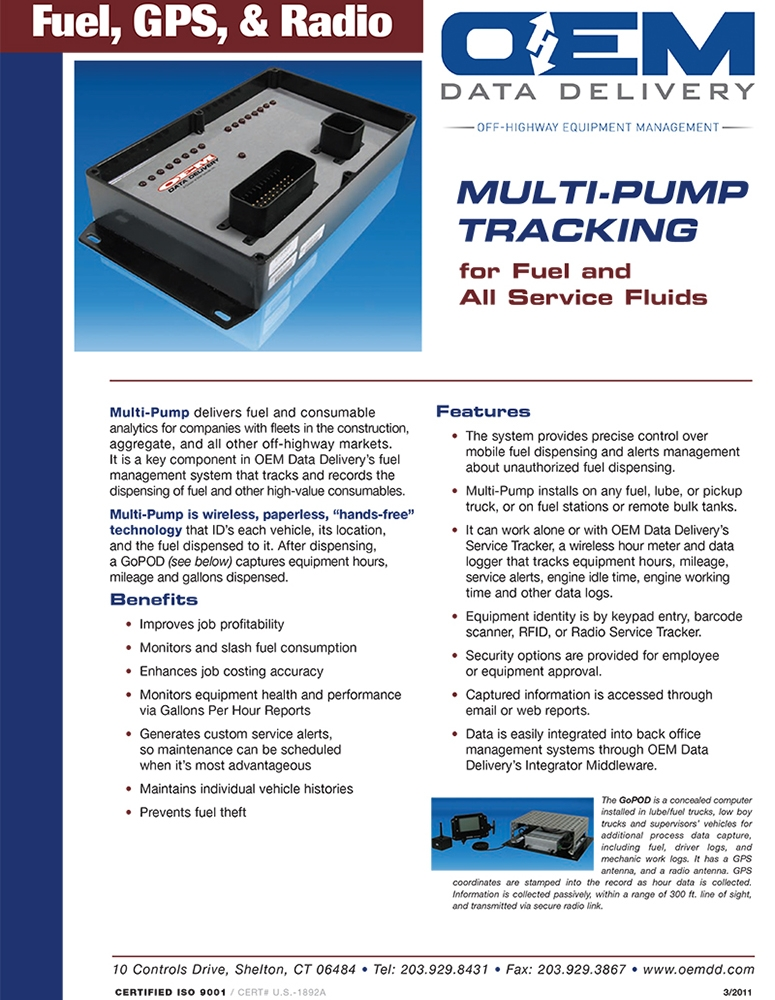 ST-603 Multi-Pump Tracker Data Sheet